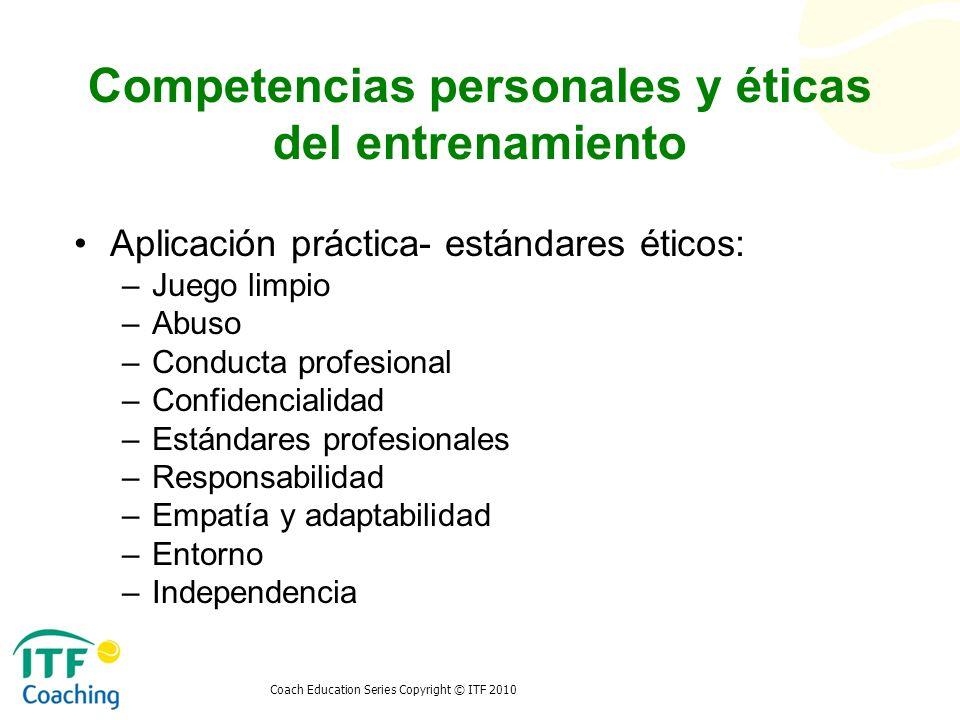Competencias personales y éticas del entrenamiento