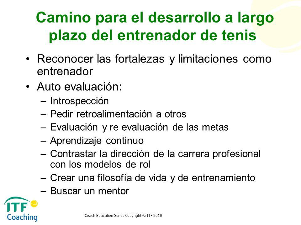 Camino para el desarrollo a largo plazo del entrenador de tenis