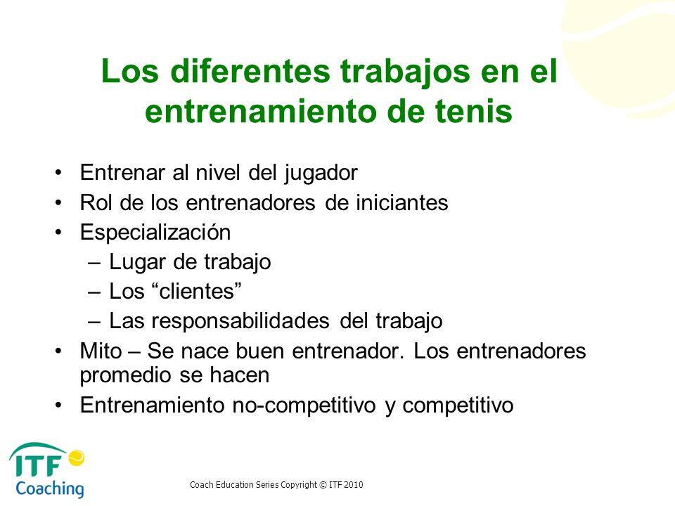Los diferentes trabajos en el entrenamiento de tenis