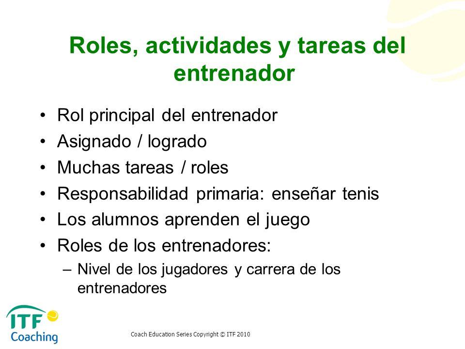 Roles, actividades y tareas del entrenador