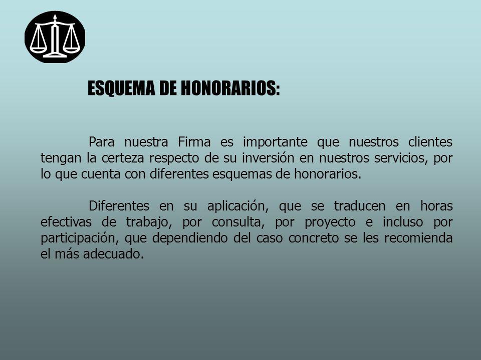 ESQUEMA DE HONORARIOS: