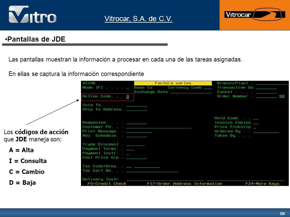 Pantallas de JDE Las pantallas muestran la información a procesar en cada una de las tareas asignadas.