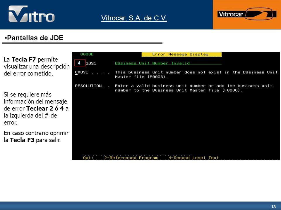 Pantallas de JDE La Tecla F7 permite visualizar una descripción del error cometido.