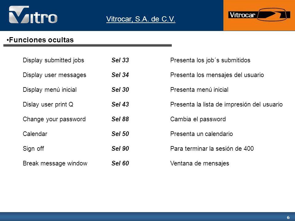 Funciones ocultasDisplay submitted jobs Sel 33 Presenta los job´s submitidos. Display user messages Sel 34 Presenta los mensajes del usuario.
