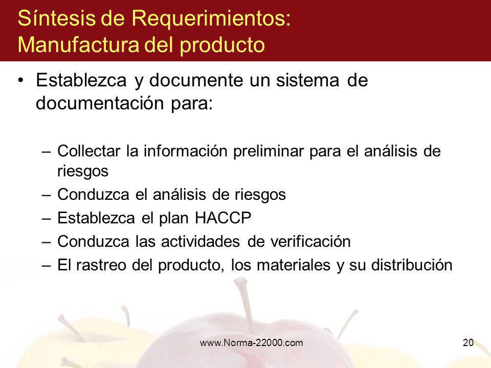 Síntesis de Requerimientos: Manufactura del producto