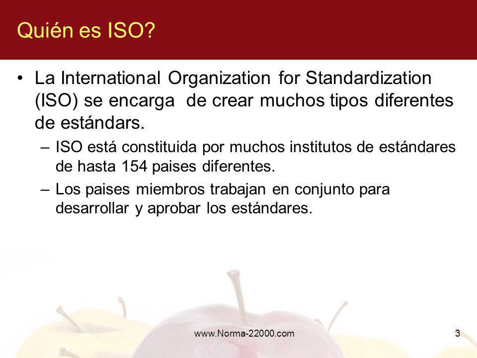 Quién es ISO La International Organization for Standardization (ISO) se encarga de crear muchos tipos diferentes de estándars.