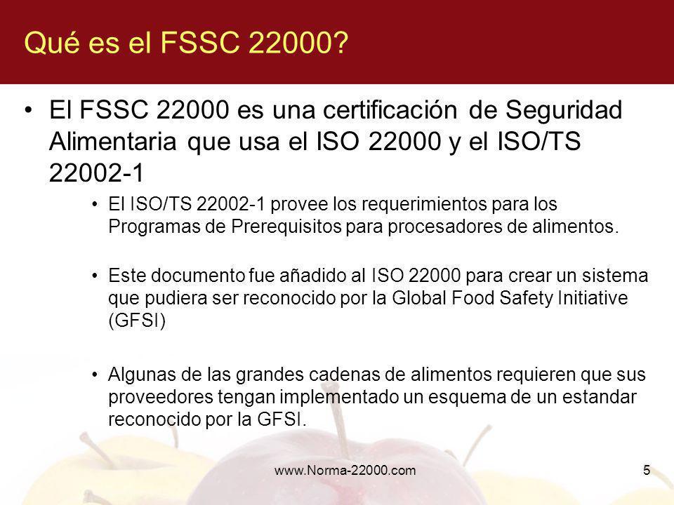 Qué es el FSSC 22000 El FSSC 22000 es una certificación de Seguridad Alimentaria que usa el ISO 22000 y el ISO/TS 22002-1.
