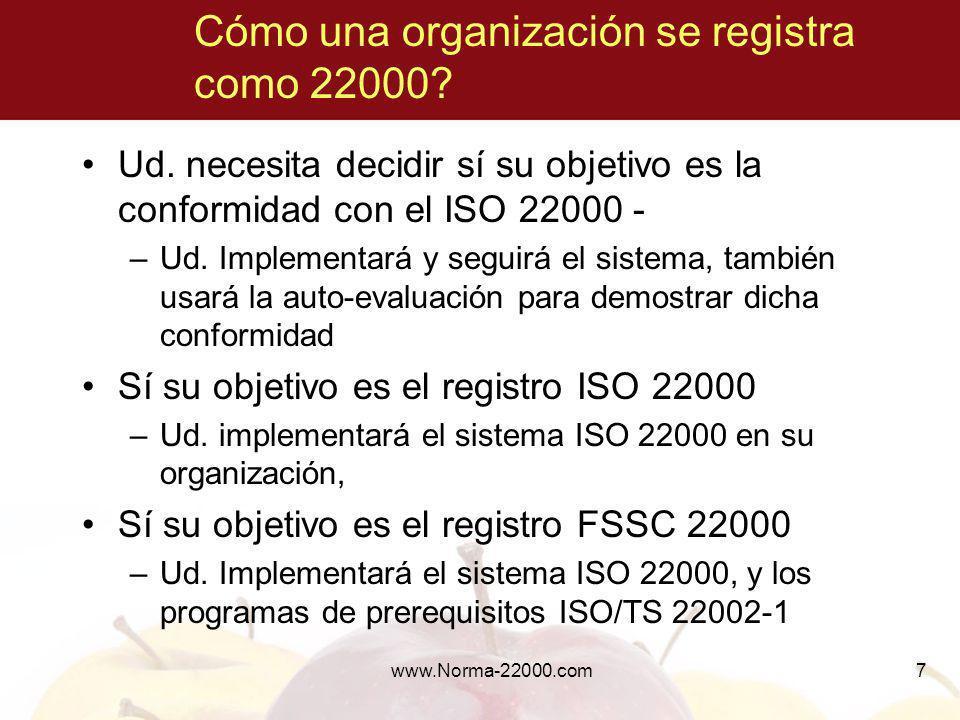Cómo una organización se registra como 22000