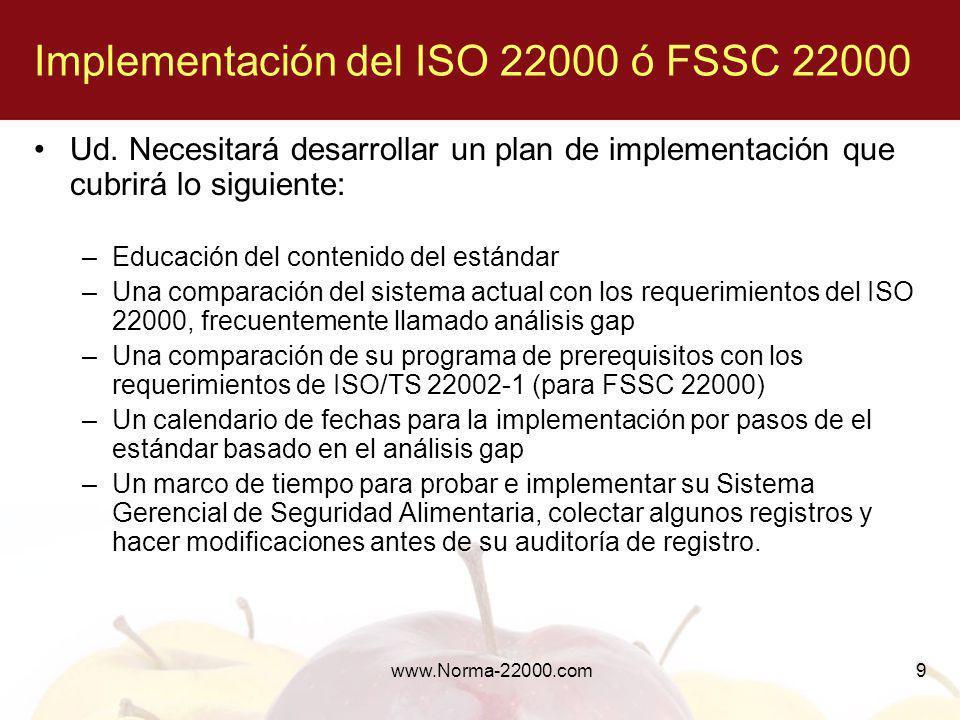 Implementación del ISO 22000 ó FSSC 22000