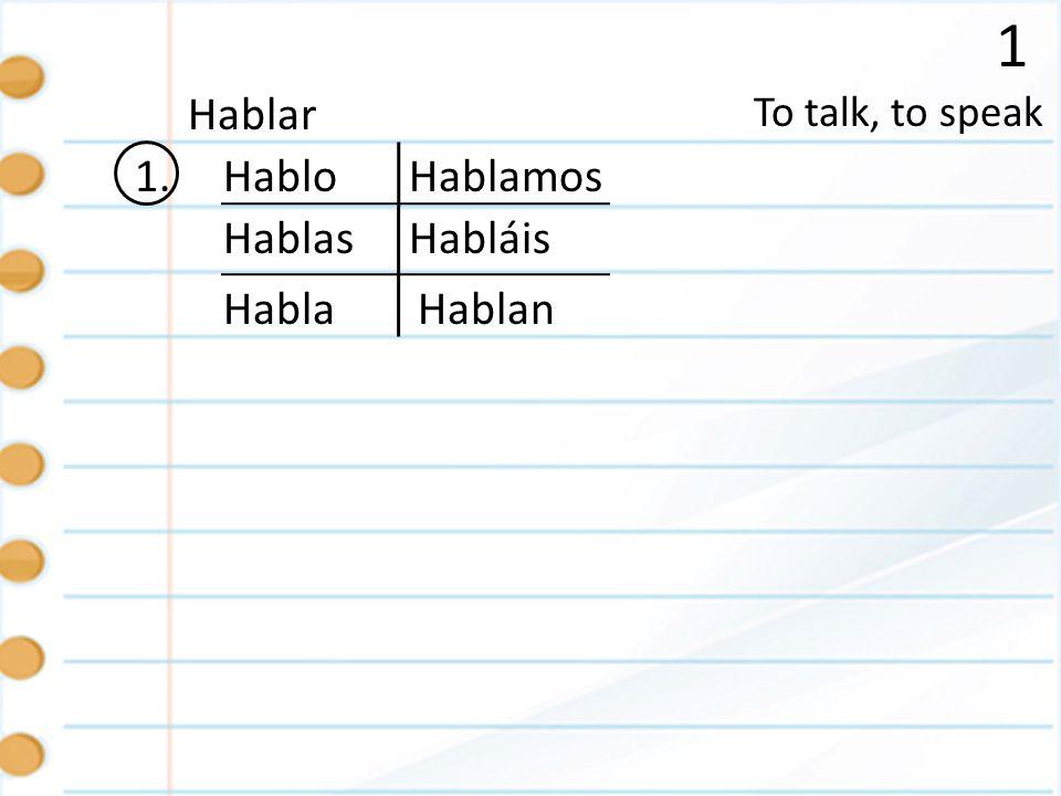 1 Hablar 1. Hablo Hablamos Hablas Habláis Habla Hablan