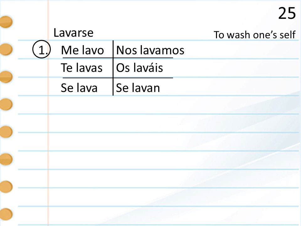 25 Lavarse 1. Me lavo Nos lavamos Te lavas Os laváis Se lava Se lavan