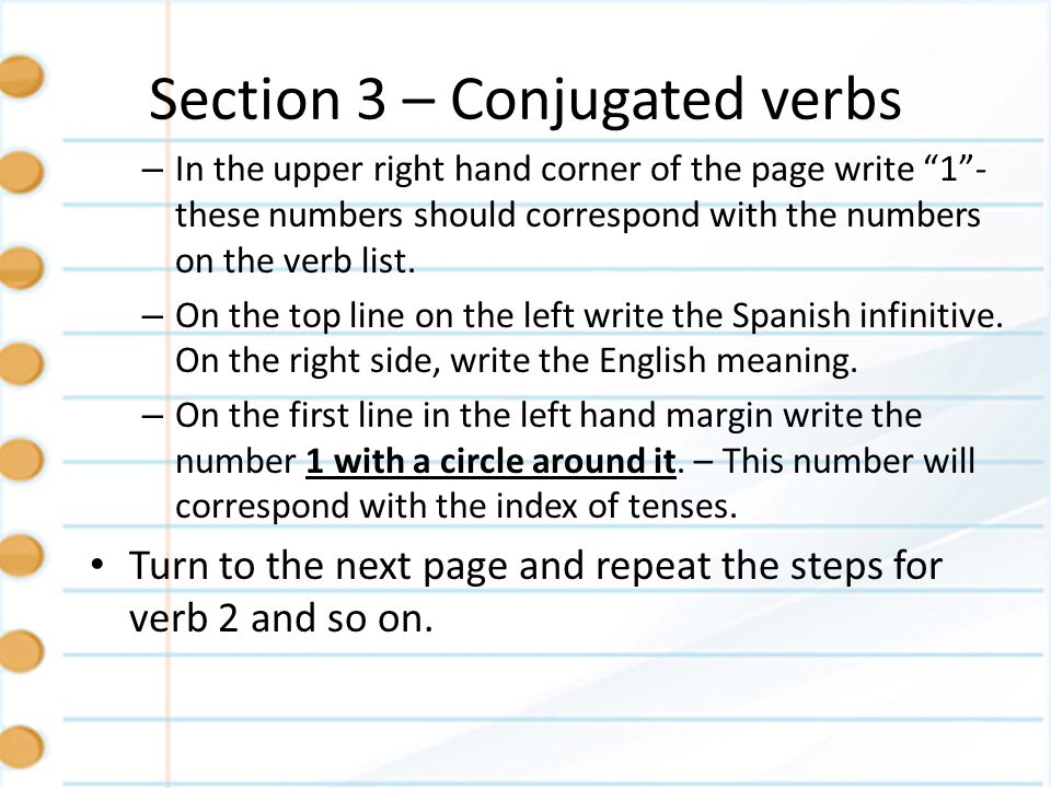 Section 3 – Conjugated verbs