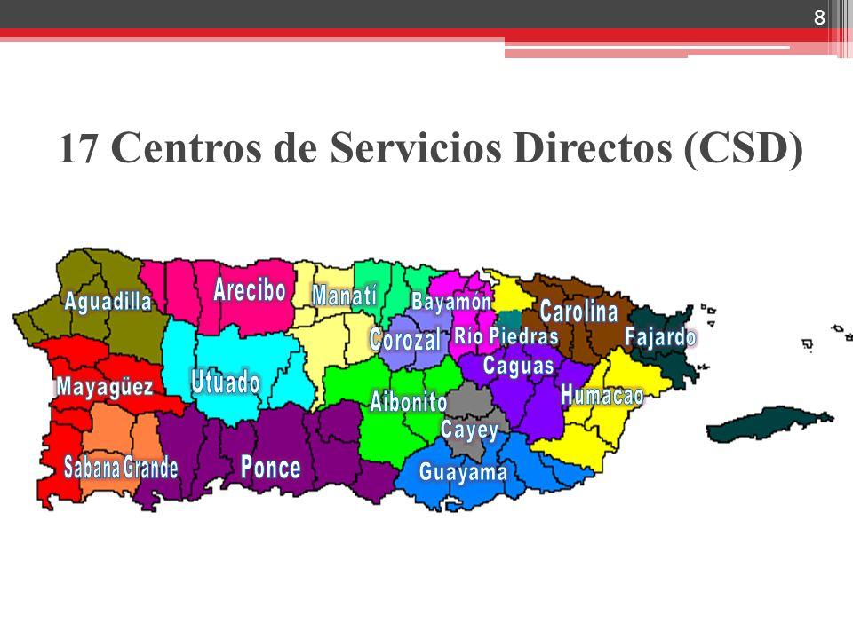 17 Centros de Servicios Directos (CSD)