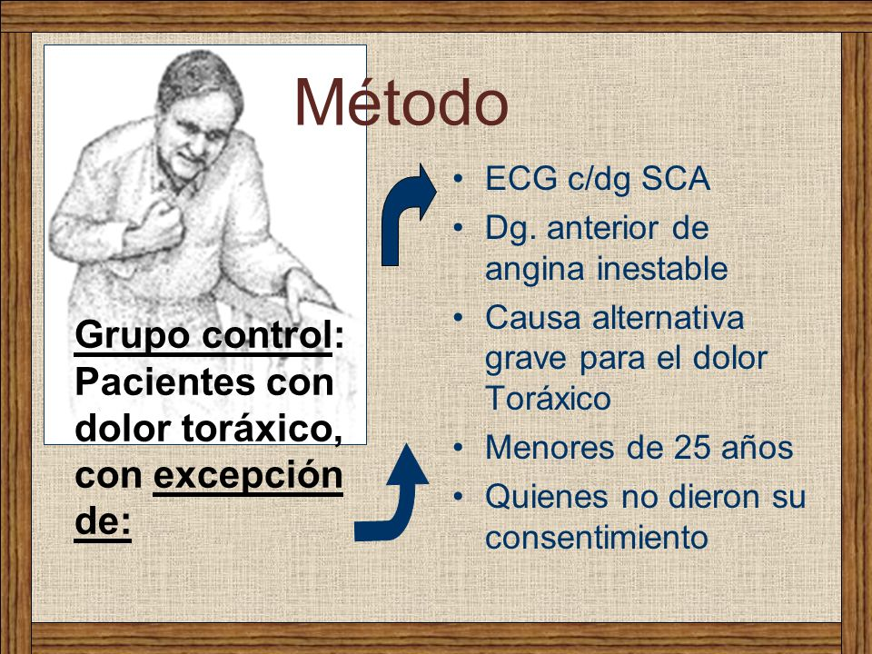 Método Grupo control: Pacientes con dolor toráxico, con excepción de: