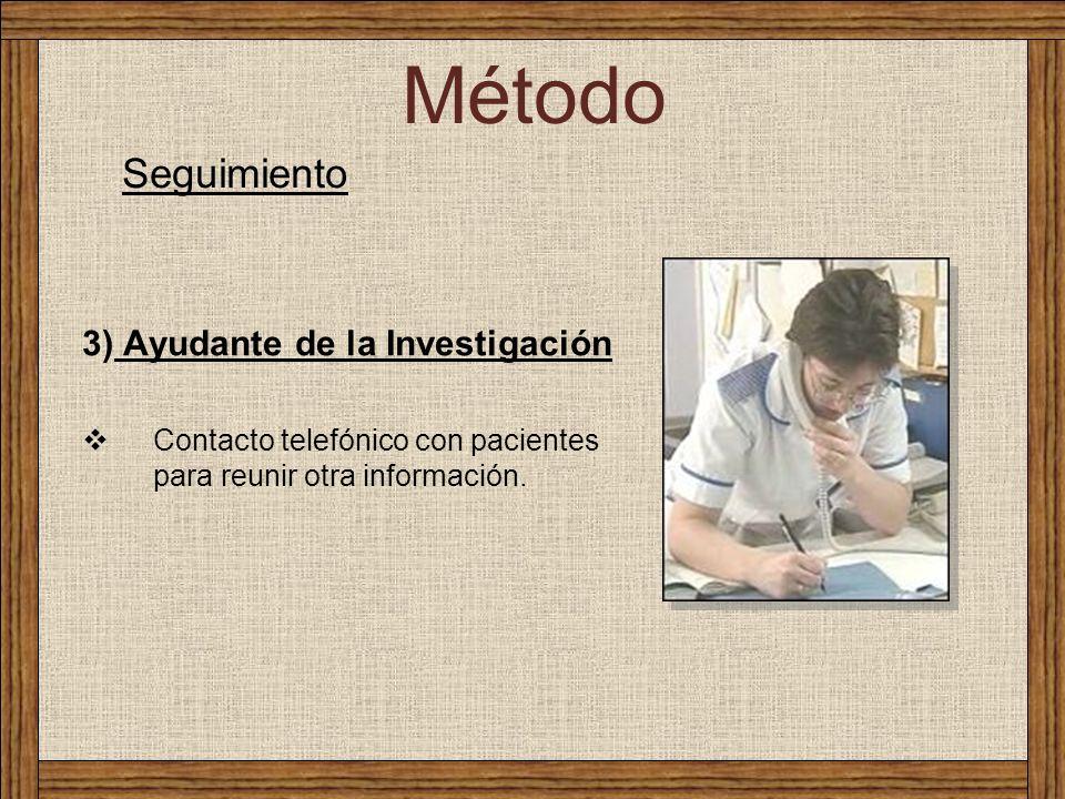 Método Seguimiento 3) Ayudante de la Investigación