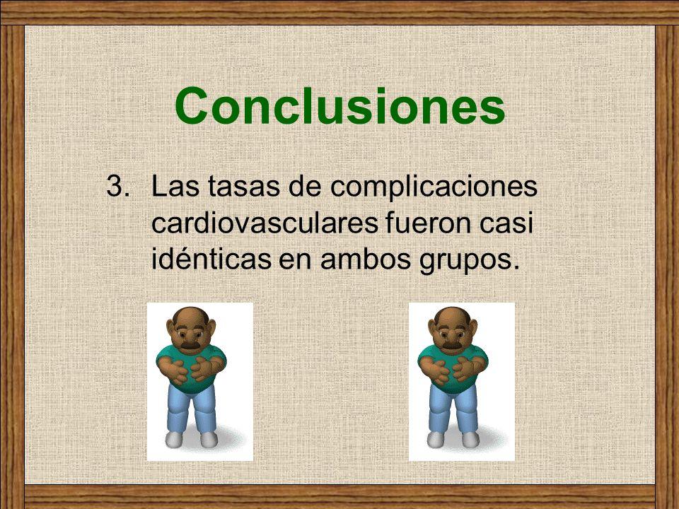 Conclusiones Las tasas de complicaciones cardiovasculares fueron casi idénticas en ambos grupos.