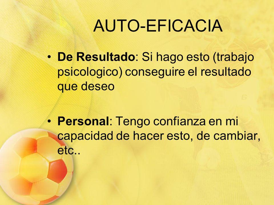 AUTO-EFICACIA De Resultado: Si hago esto (trabajo psicologico) conseguire el resultado que deseo.