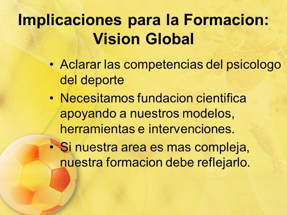 Implicaciones para la Formacion: Vision Global