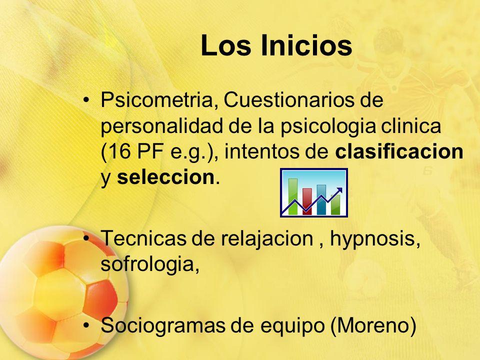 Los Inicios Psicometria, Cuestionarios de personalidad de la psicologia clinica (16 PF e.g.), intentos de clasificacion y seleccion.