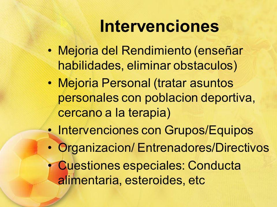 Intervenciones Mejoria del Rendimiento (enseñar habilidades, eliminar obstaculos)