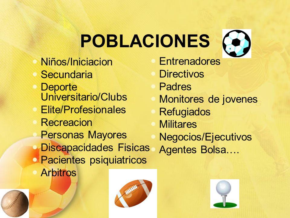 POBLACIONES Niños/Iniciacion Secundaria Entrenadores