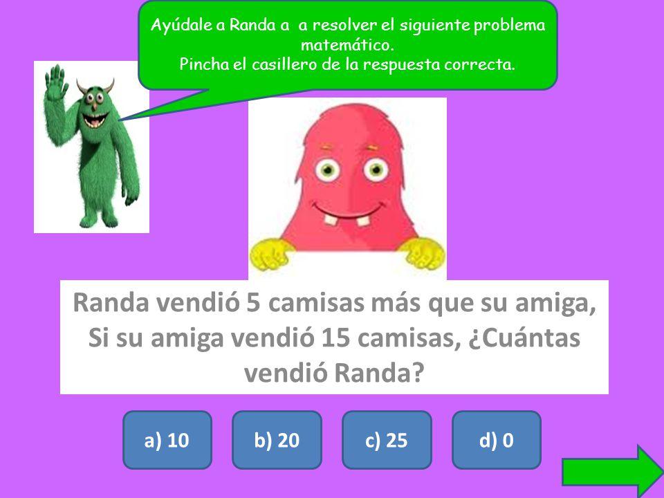 Ayúdale a Randa a a resolver el siguiente problema matemático