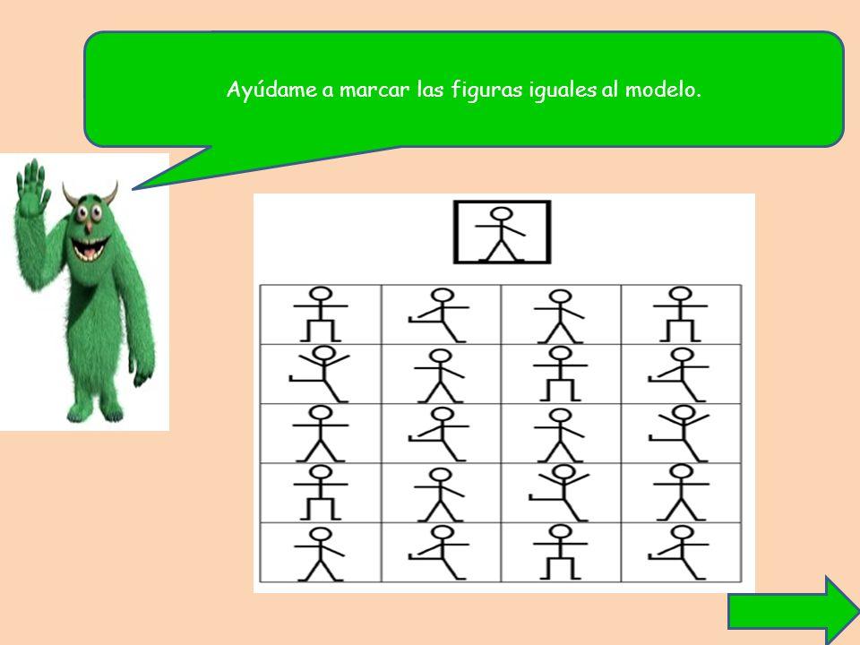 Ayúdame a marcar las figuras iguales al modelo.