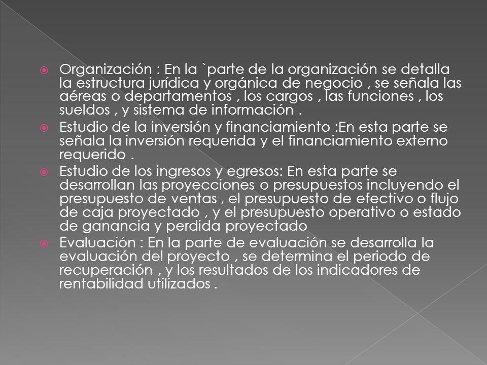 Organización : En la `parte de la organización se detalla la estructura jurídica y orgánica de negocio , se señala las aéreas o departamentos , los cargos , las funciones , los sueldos , y sistema de información .