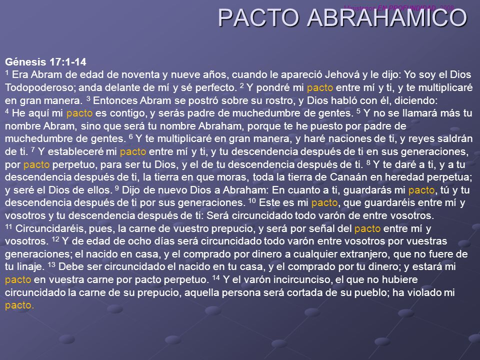 PACTO ABRAHAMICO Génesis 17:1-14