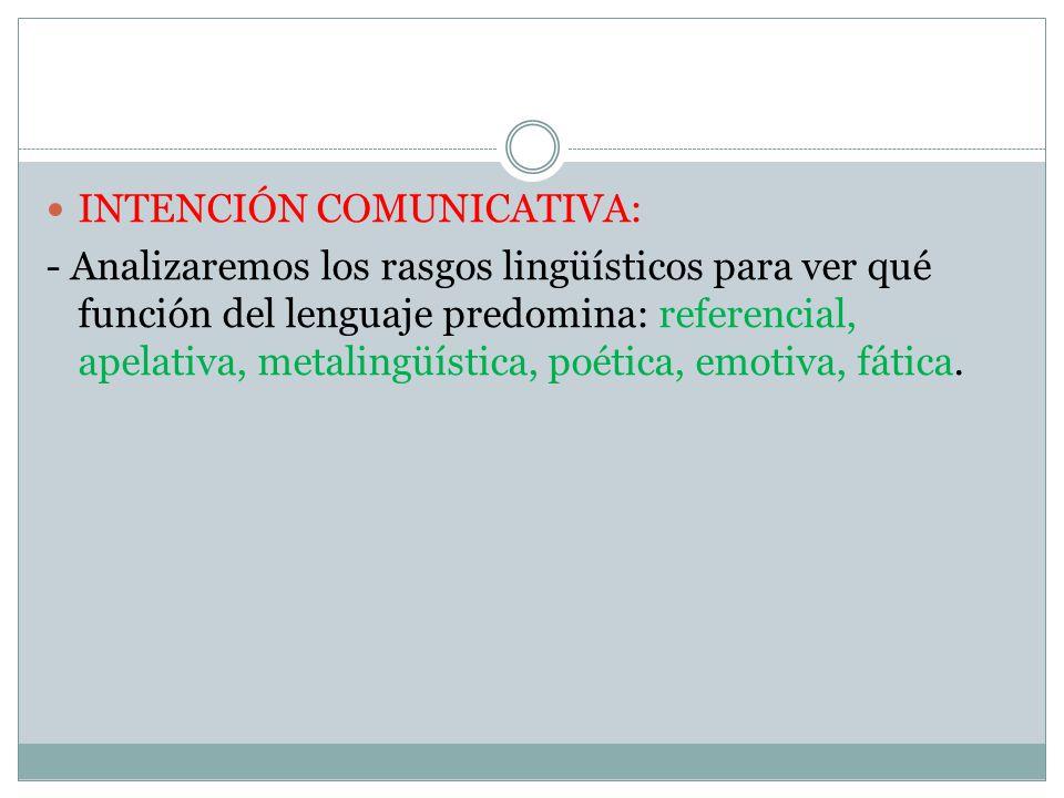 INTENCIÓN COMUNICATIVA: