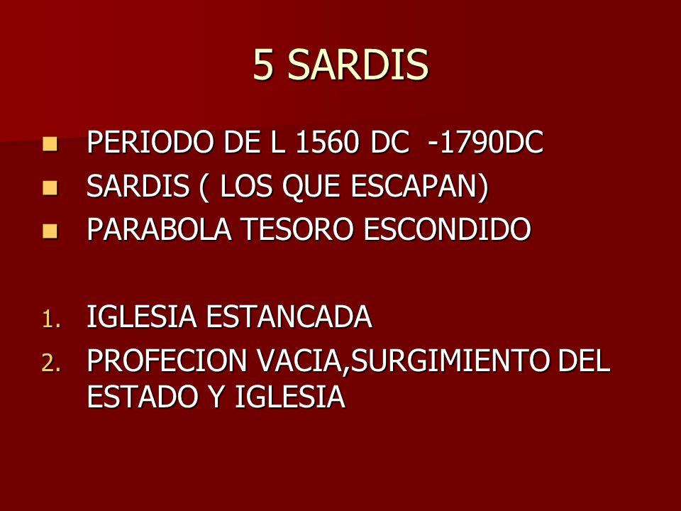 5 SARDIS PERIODO DE L 1560 DC -1790DC SARDIS ( LOS QUE ESCAPAN)