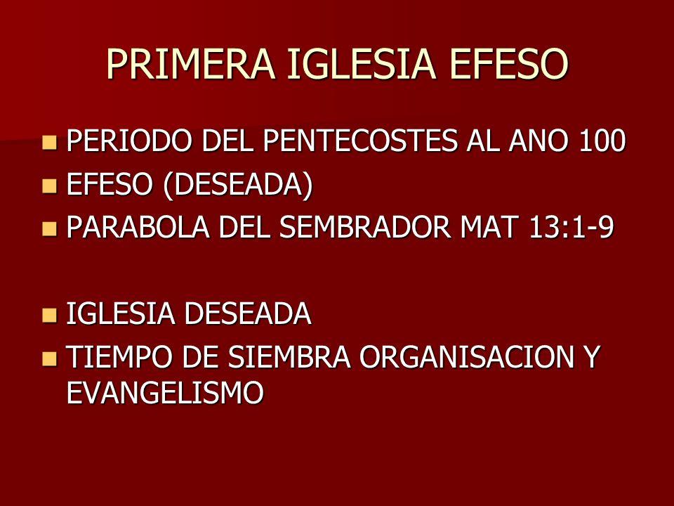 PRIMERA IGLESIA EFESO PERIODO DEL PENTECOSTES AL ANO 100