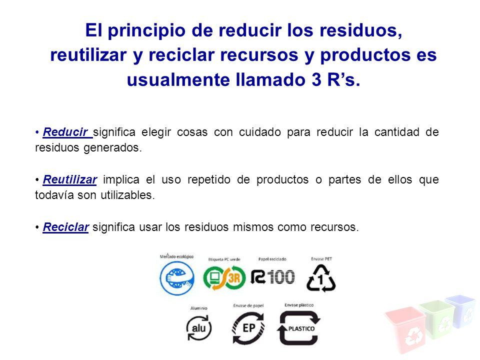 El principio de reducir los residuos, reutilizar y reciclar recursos y productos es usualmente llamado 3 R's.