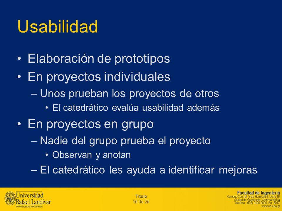 Usabilidad Elaboración de prototipos En proyectos individuales