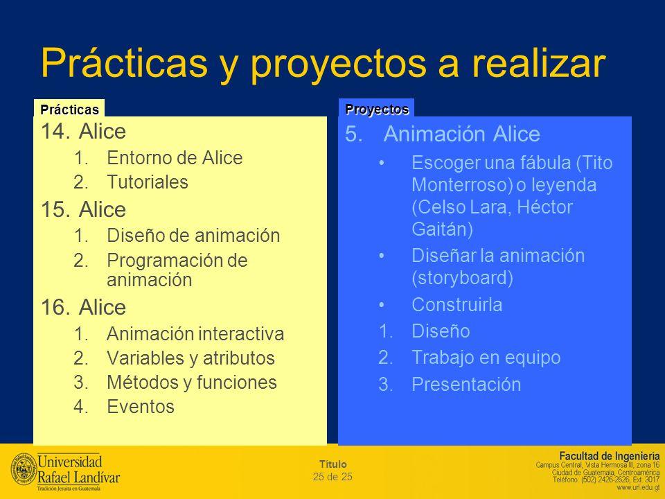 Prácticas y proyectos a realizar