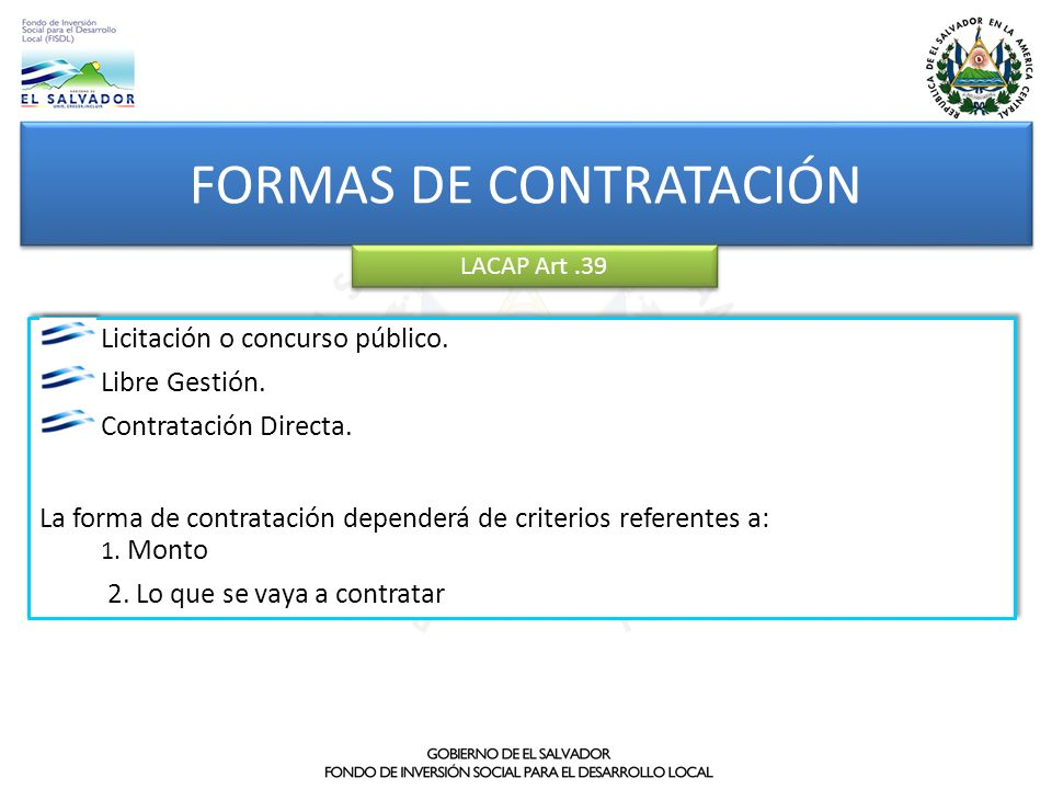 FORMAS DE CONTRATACIÓN