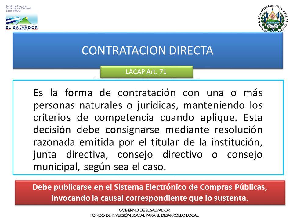 CONTRATACION DIRECTA LACAP Art. 71.