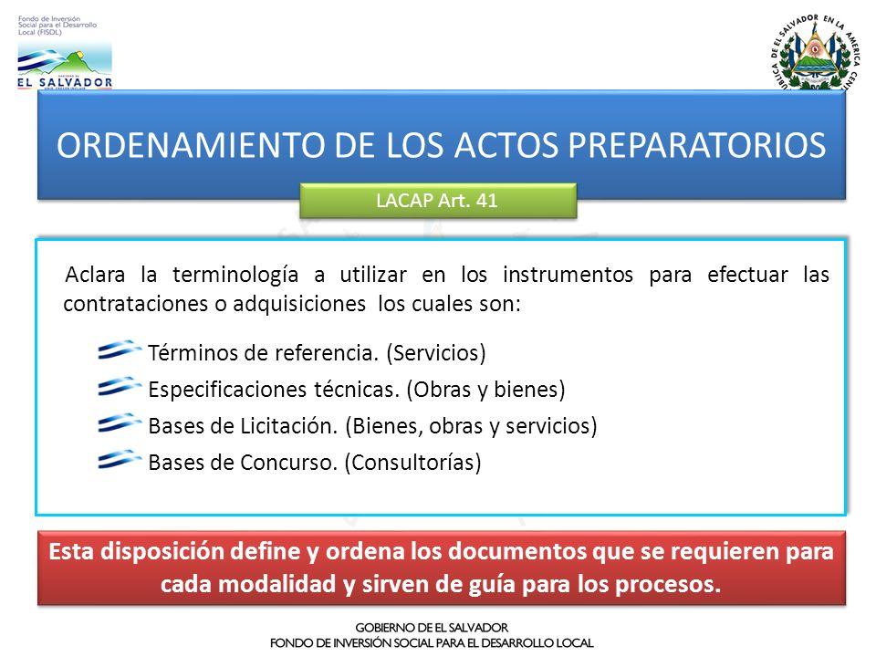 ORDENAMIENTO DE LOS ACTOS PREPARATORIOS