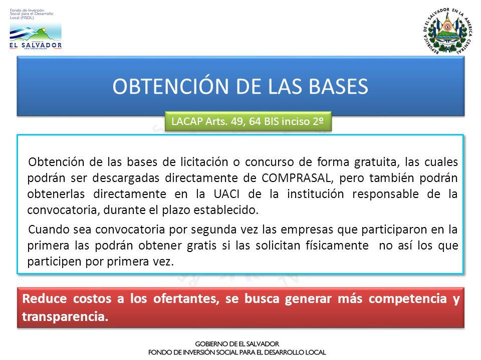 OBTENCIÓN DE LAS BASES LACAP Arts. 49, 64 BIS inciso 2º.