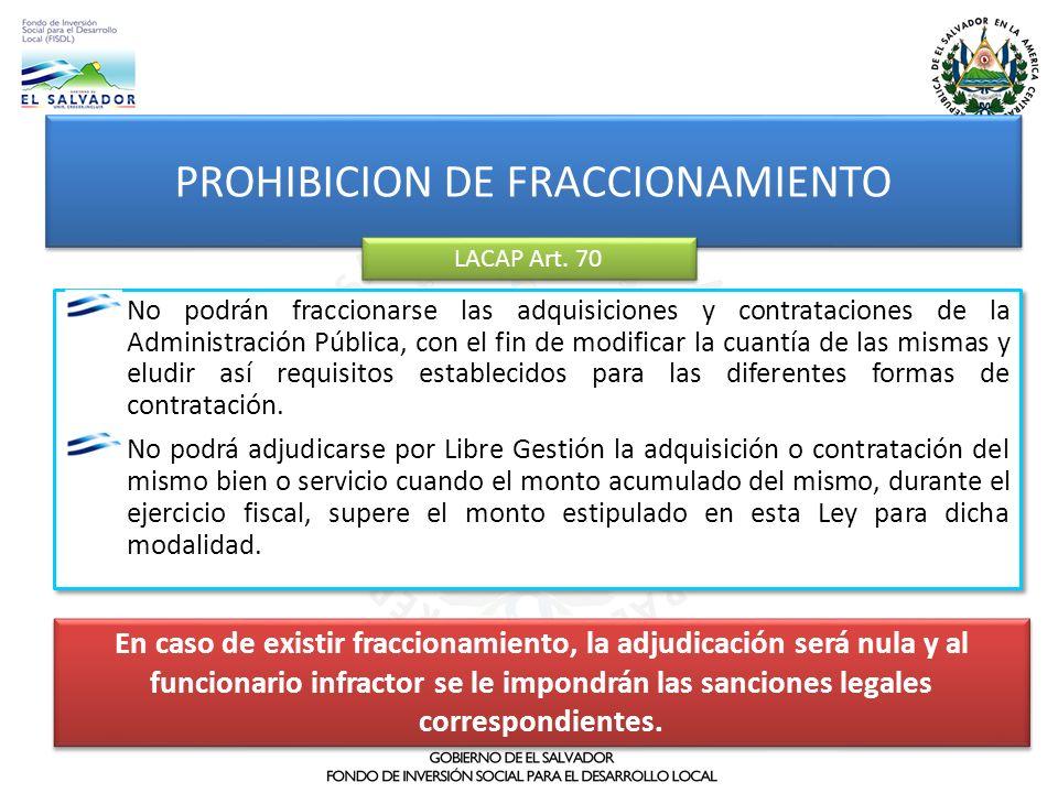 PROHIBICION DE FRACCIONAMIENTO