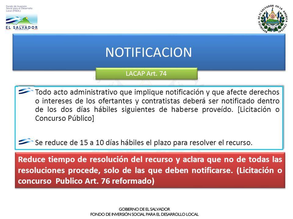 NOTIFICACION LACAP Art. 74.