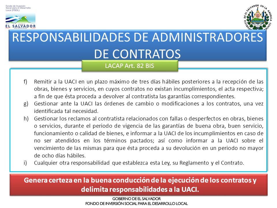 RESPONSABILIDADES DE ADMINISTRADORES DE CONTRATOS
