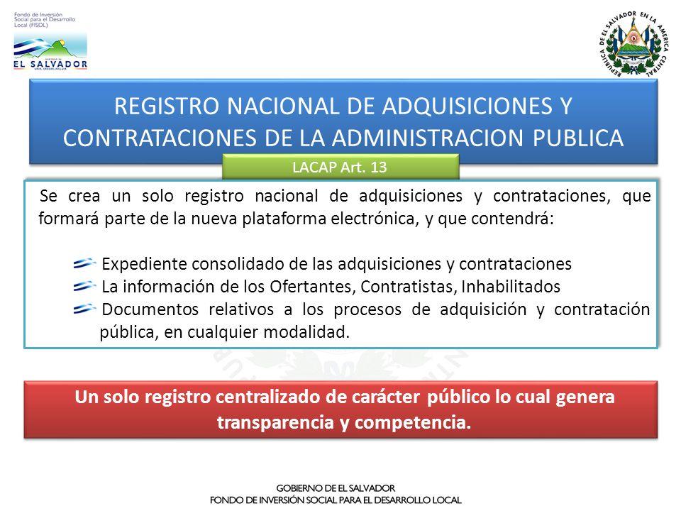 REGISTRO NACIONAL DE ADQUISICIONES Y CONTRATACIONES DE LA ADMINISTRACION PUBLICA
