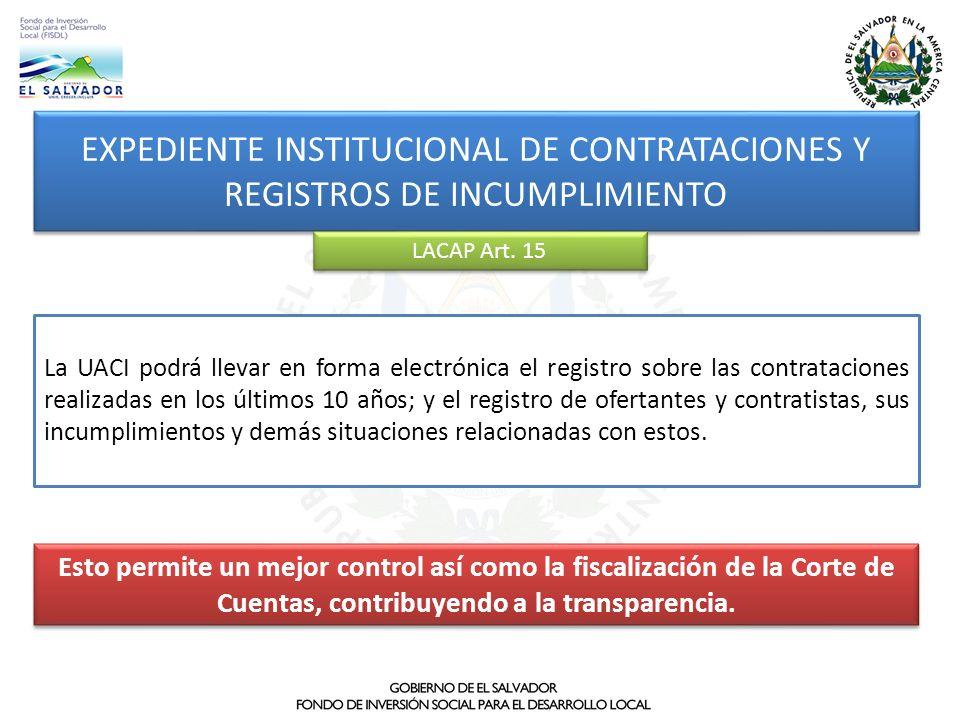EXPEDIENTE INSTITUCIONAL DE CONTRATACIONES Y REGISTROS DE INCUMPLIMIENTO