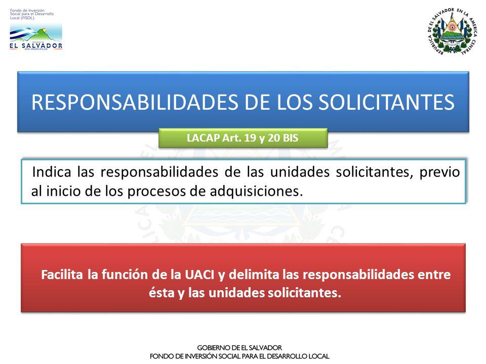 RESPONSABILIDADES DE LOS SOLICITANTES