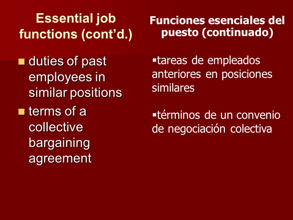 Essential job functions (cont'd.)