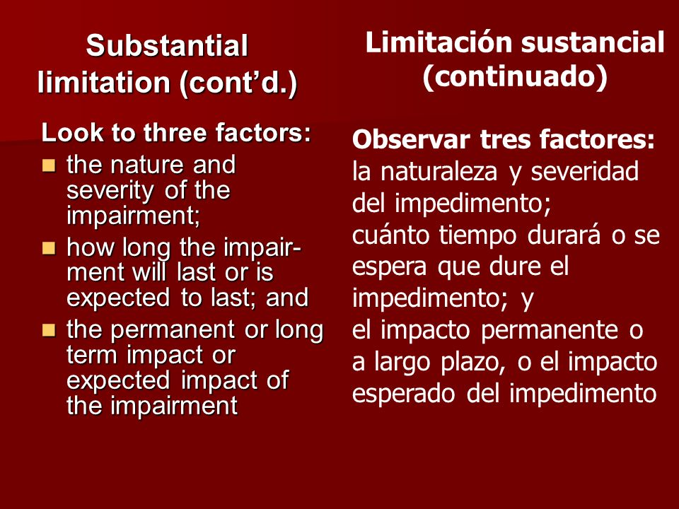 Substantial limitation (cont'd.)