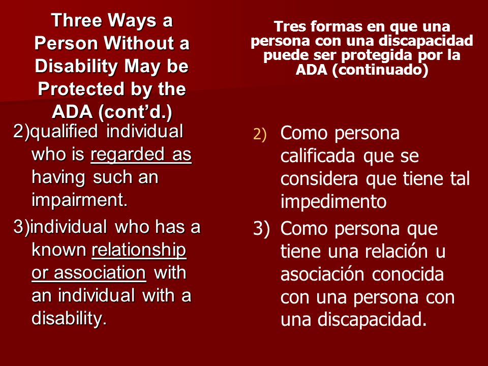 2)qualified individual who is regarded as having such an impairment.