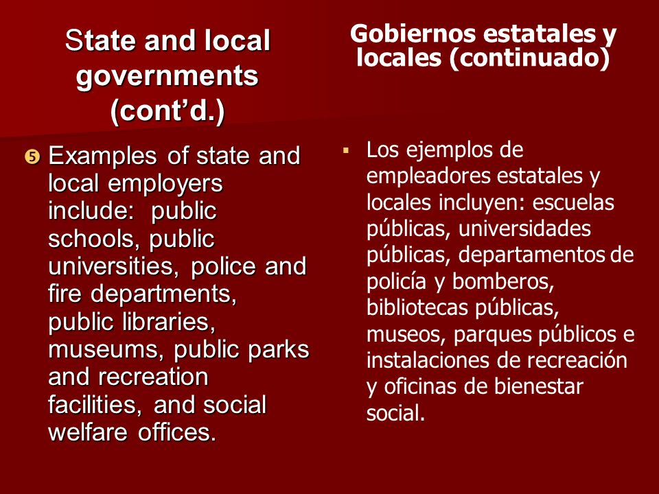 State and local governments (cont'd.)