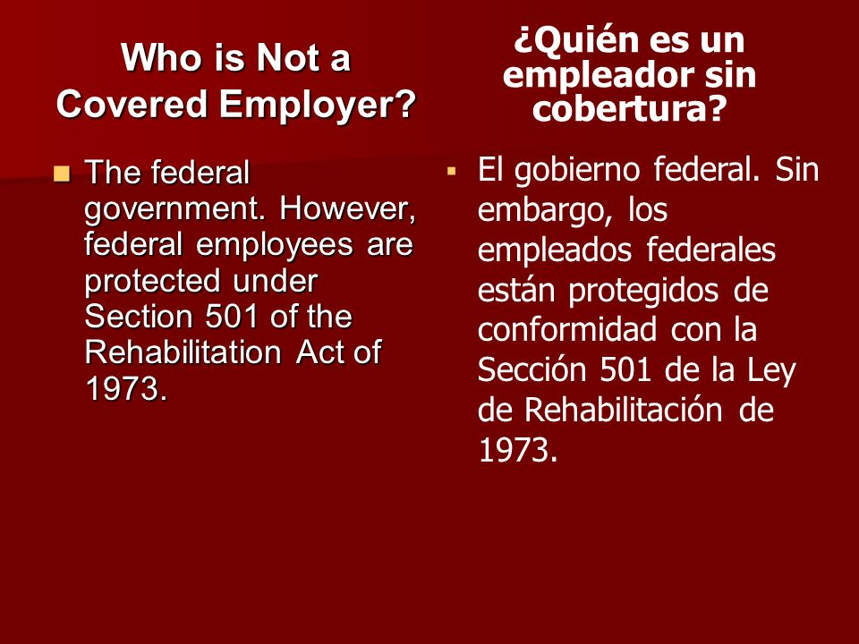 Who is Not a Covered Employer